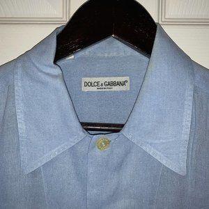 Dolce & Gabbana Blue Linen Shirt